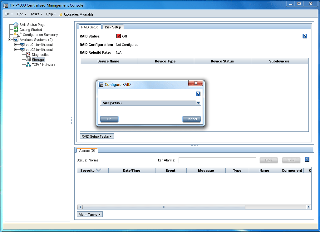 Configure the RAID on the VSA to initialize the storage