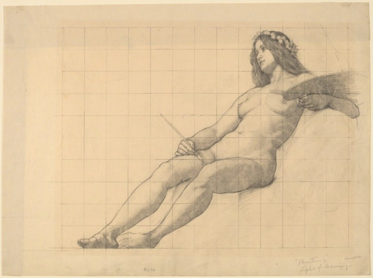 """Kenyon Cox - Reclining Female Nude Study for """"Painting"""""""