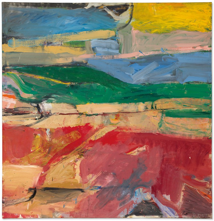 Berkeley #32, abstract painting by Richard Diebenkorn, oil on canvas, 59 x 57 in