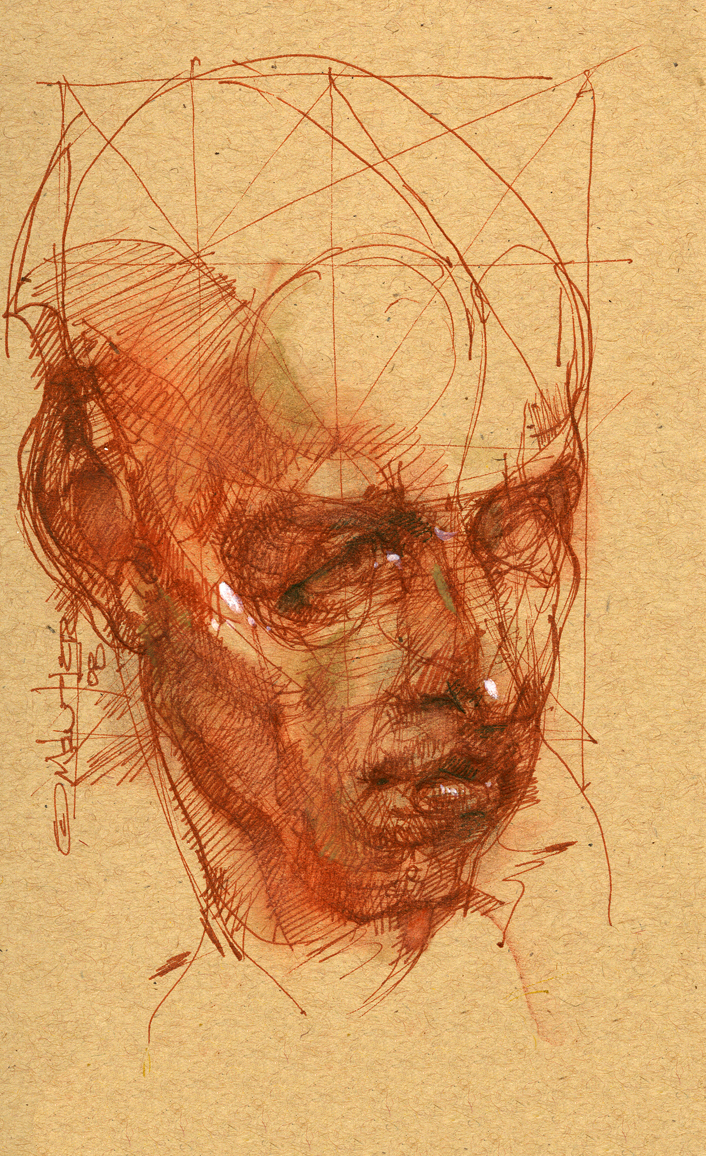 Portrait of a male figure by Michael Mentler, sepia pen on paper