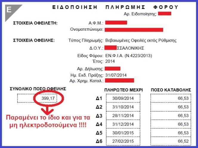 ΕΙΔΟΠΟΙΗΣΗ ΠΛΗΡΩΜΗΣ ΕΝΙΑΙΟΥ ΦΟΡΟΥ 2014 - 3η ιδιοσ φοροσ