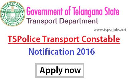 TSPolice TSPSC Transport Constable Notification 2016- Exam Date