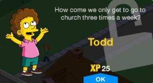 TSTO new character unlock todd level 32