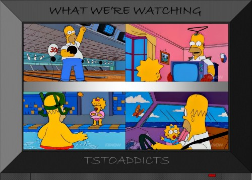 Homer bowls a perfect 300 and bonds with Maggie Simpsons