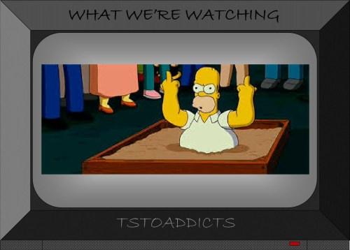 Sinkhole Homer Simpson Middle Finger Simpsons Movie