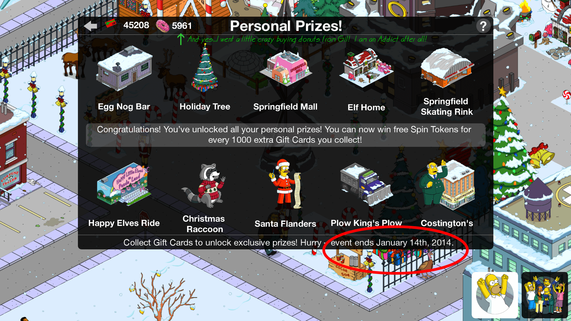 TSTO Christmas 2013The Simpsons Tapped Out AddictsAll