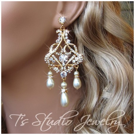 Pearl And Rhinestone Gold Bridal Chandelier Earrings Denise