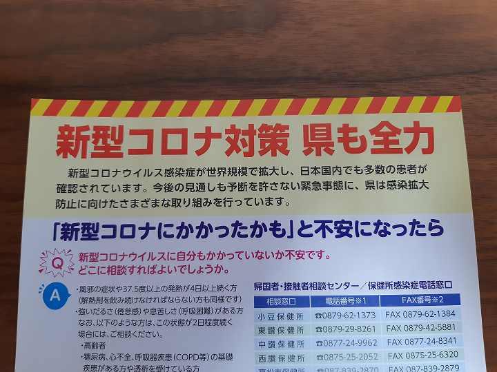 コロナウイルス 問い合わせ 香川