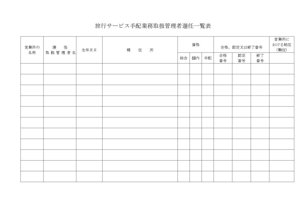 旅行サービス手配業務取扱管理者選任一覧表