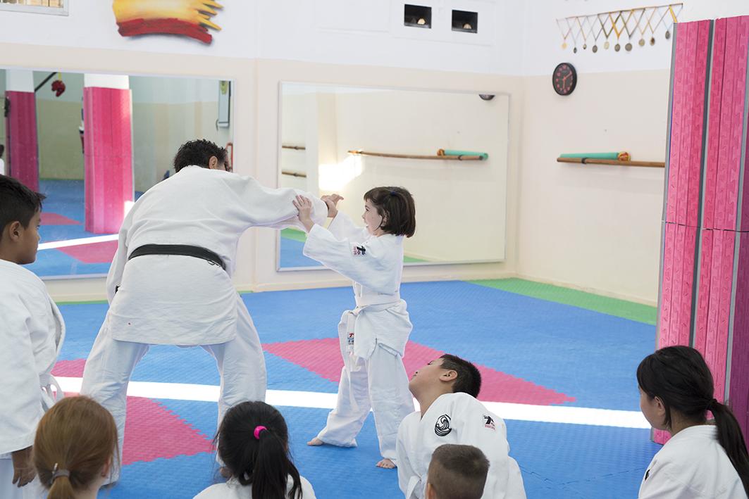 niños practicando aikido con sensei