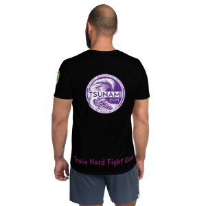 BJJ All-Over Print Men's Athletic T-shirt (train hard fight easy)