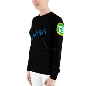 BJJ Women's Rash Guard (train hard fight easy)