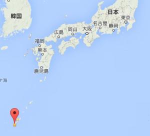沖縄東京間位置図