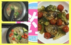 蓋をして蒸しながら煮、時々スプーンで煮汁を掛け、野菜がしんなりしたら皿に盛り付けて完成