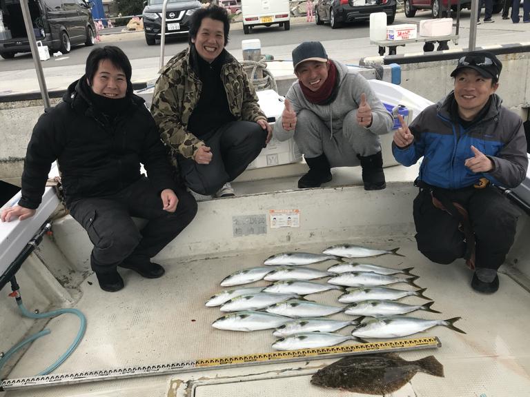 2020-1-25-ヒラメ1匹・ハマチ16匹の釣果