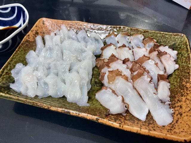 生タコと茹でタコの刺身