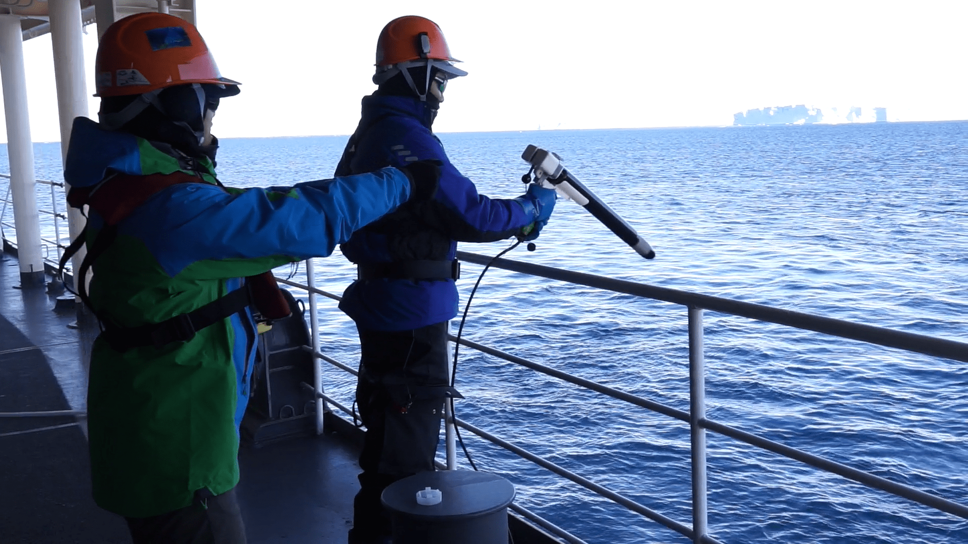 XCTD observation being performed from the Shirase © National Institute of Polar Research
