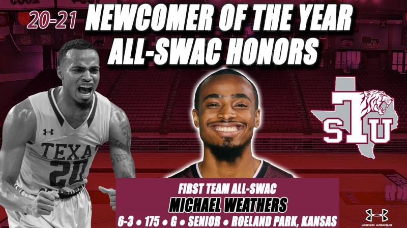 Weathers Named Newcomer of the Year, 1st Team All-SWAC