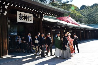 there was a traditional wedding procession at the shrine