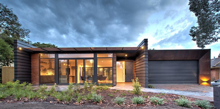Industrial House - mixed materials of Corten steel cladding and timber