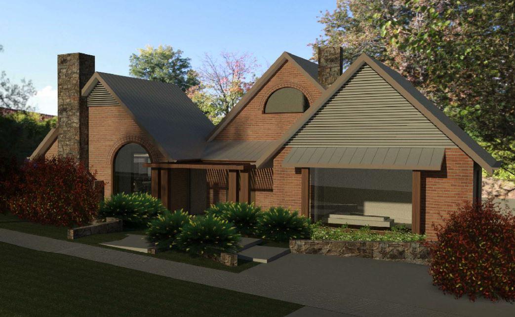 Potrebica House - architectural render traditional farmhouse style