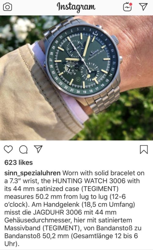 The Sinn HUNTING WATCH on wrist