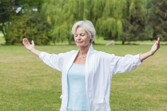old lady meditating