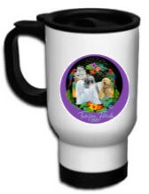 white cup (large) with black handle/logo