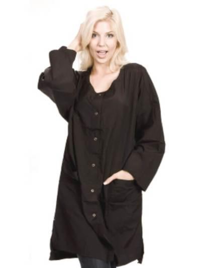 lady wearing black smock