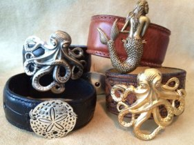 Belt leather cuff bracelet