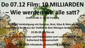 Filmabend 10 MILLIARDEN - Wie werden wir alle satt? @ Weingut Andreas Dilger