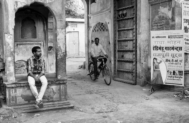 Man Sitting with Other Man on Bicycle on Streets of Jaipur in Black and White - Jaipur, India - Copyright 2016 Ralph Velasco