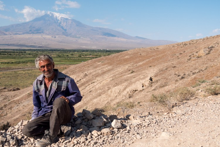 Wide of Man on Hill with Mt. Ararat - Armenia - Copyright 2018 Ralph Velasco