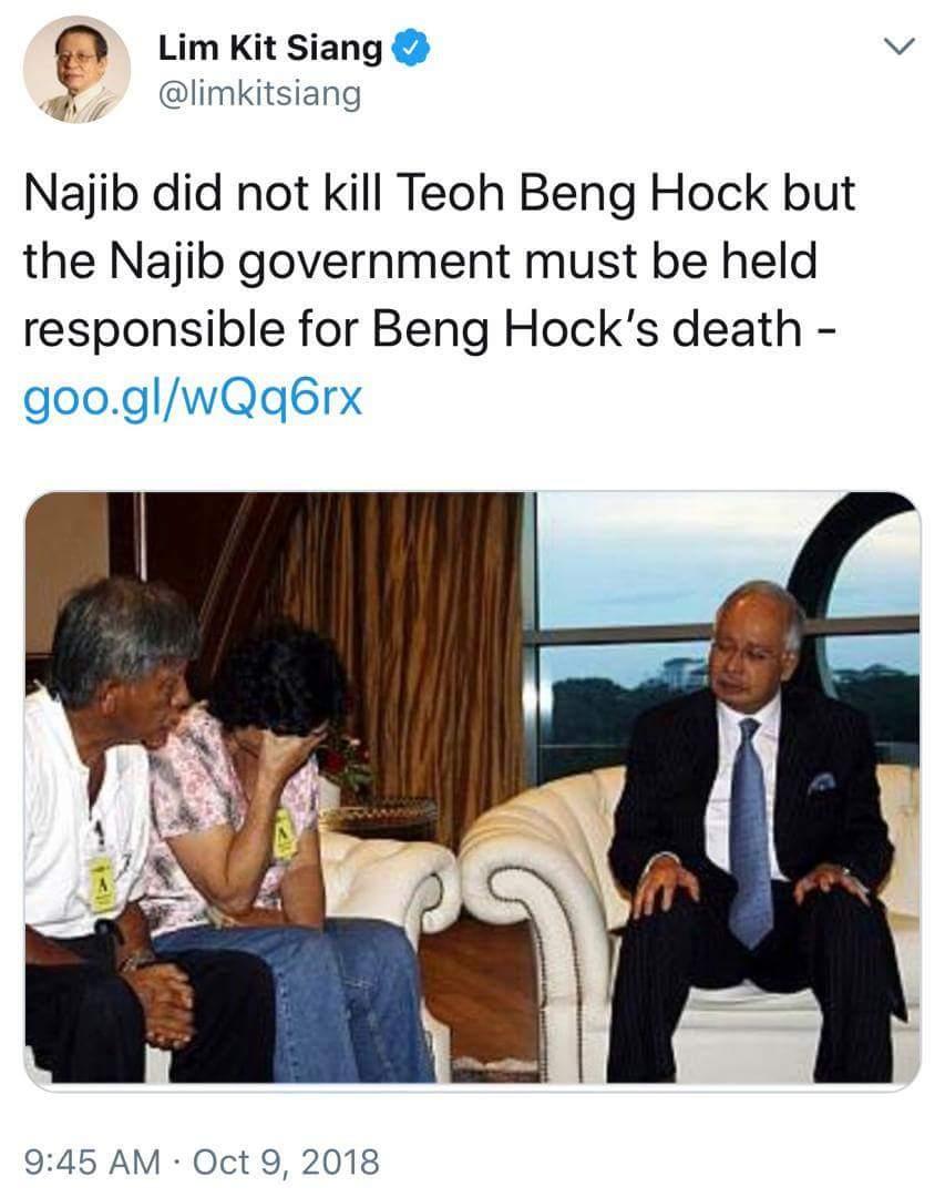 """Kit Siang sahkan saya bukan pembunuh Teoh Beng Hock, tapi..""- Najib Razak"