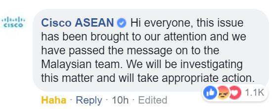 Komen jelik pekerja terhadap bekas Agong: Netizen serang laman FB Cisco Asia.