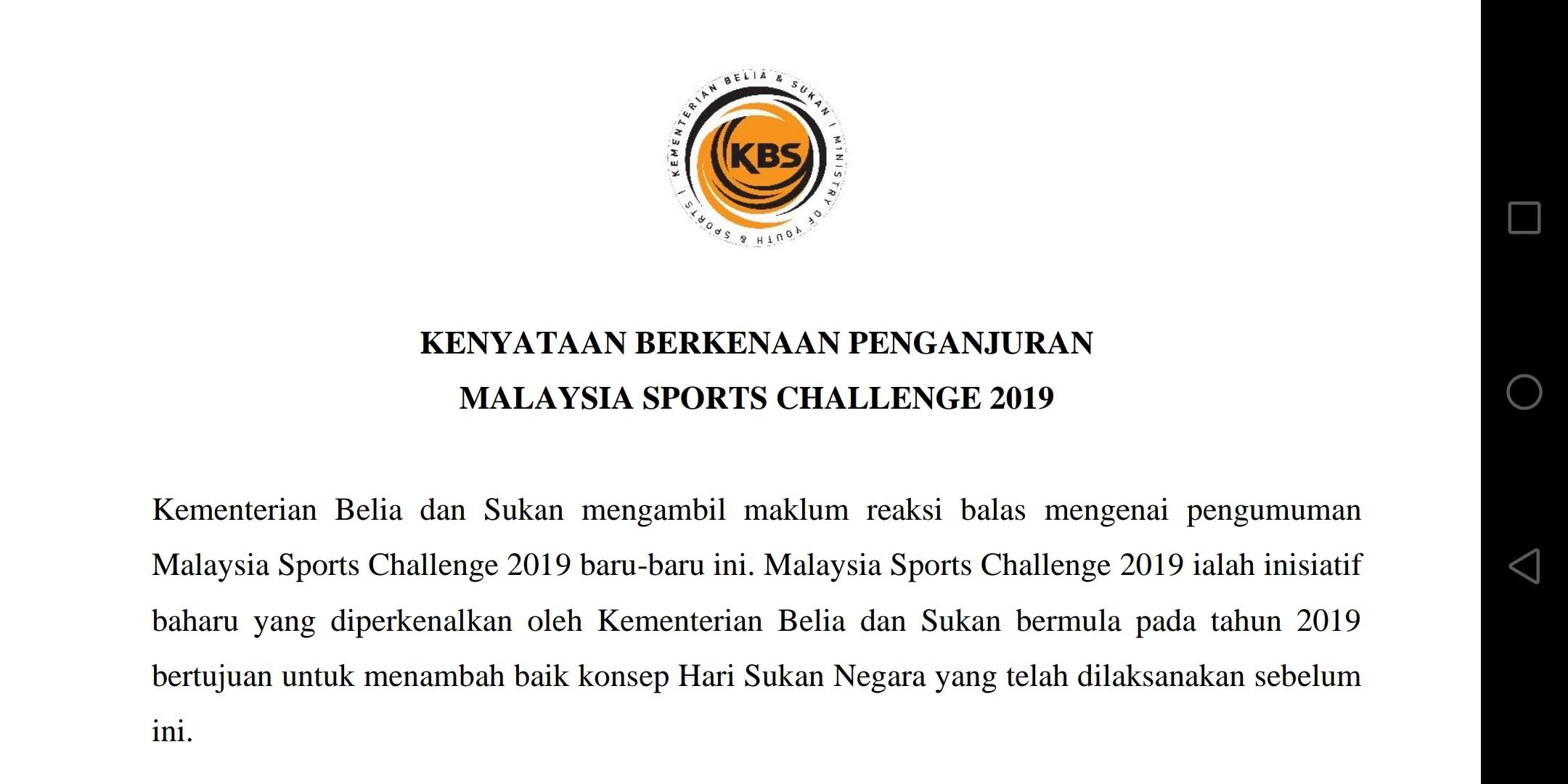 Kenyataan Kbs Berkenaan Penganjuran Malaysia Sports Challenge 2019
