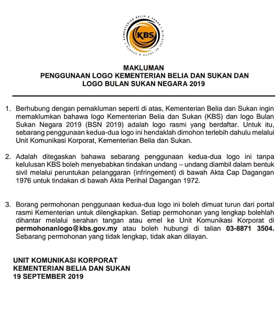 Tindakan Undang Undang Jika Guna Logo Bulan Sukan Negara Kbs Tanpa Kelulusan Kbs Buletin Ttkm