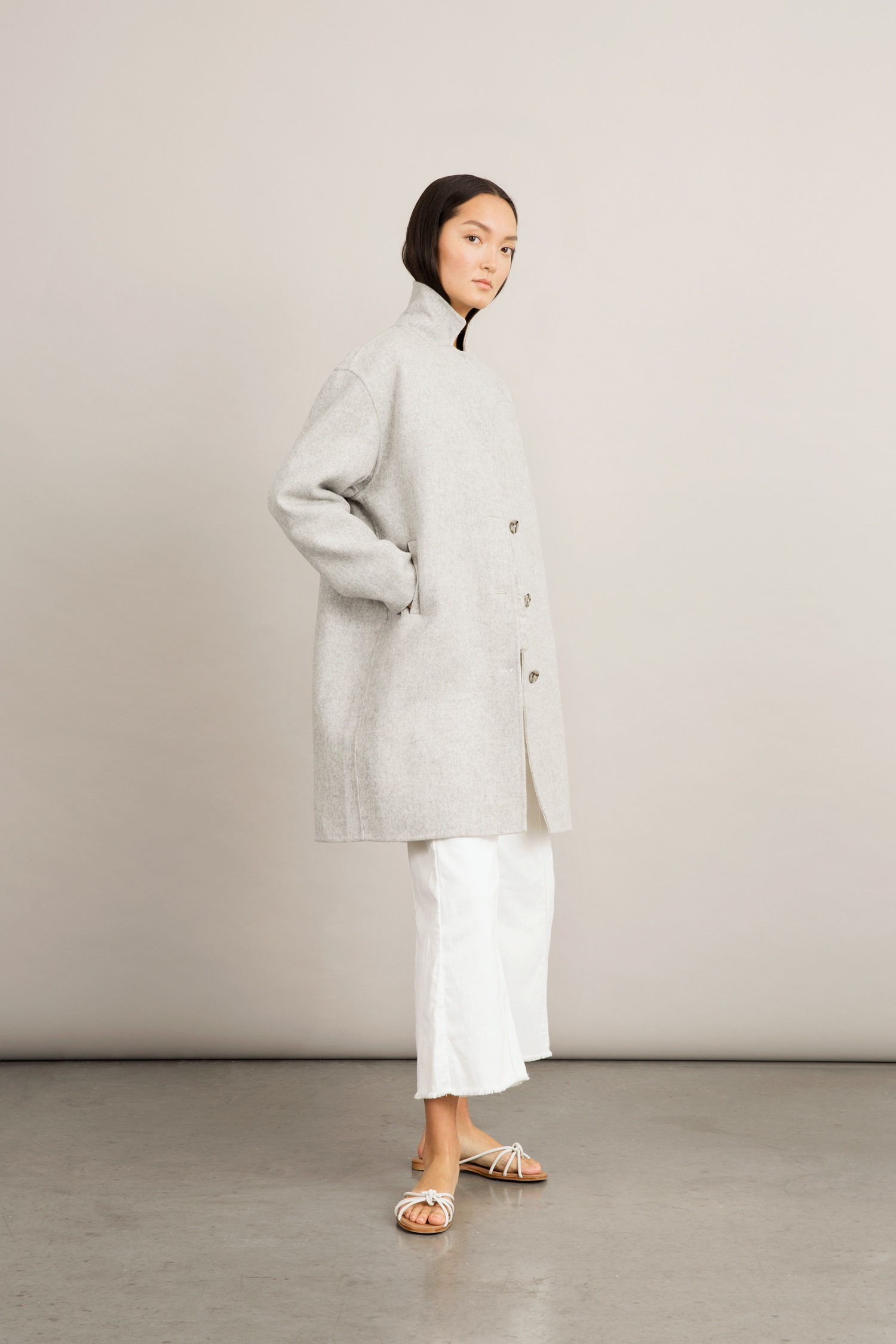 Stylein - Tessa Coat - Light Grey - Side