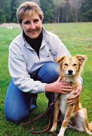 TTouch instructor Debby Potts works with horses and dogs.