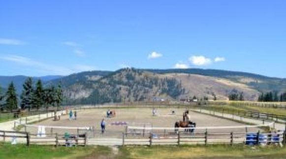The outdoor riding arena at Tellington TTouch Canada headquarters in Coldstream, BC