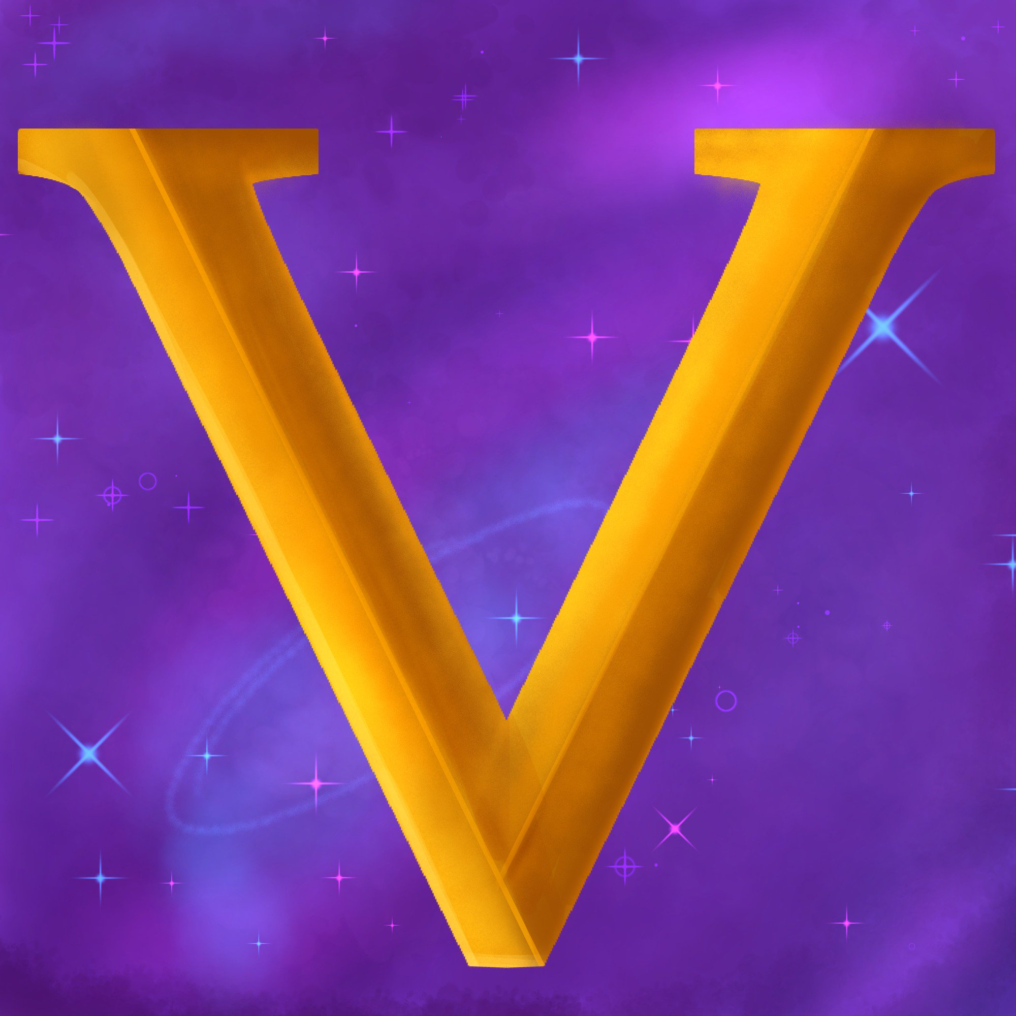 A golden V on a purple galaxy inspired background