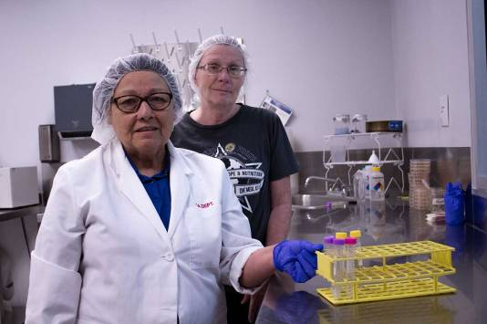 Quality assurance workers, like Lorinda Davis and Blanca Perez, testing the latest samples from the production line.