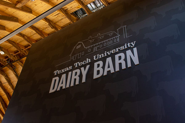 Picture of the Dairy Barn's logo above the elevator on the second floor.