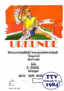 Urkunde Staffelsieg Jugend 1994/1995