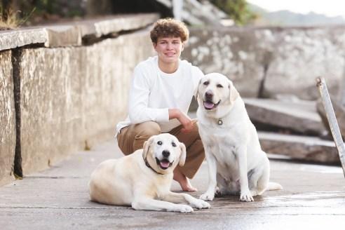 st. edward senior photograhy with dogs