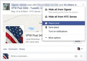 Report Post on Facebook