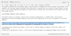Paste Google form into WordPress