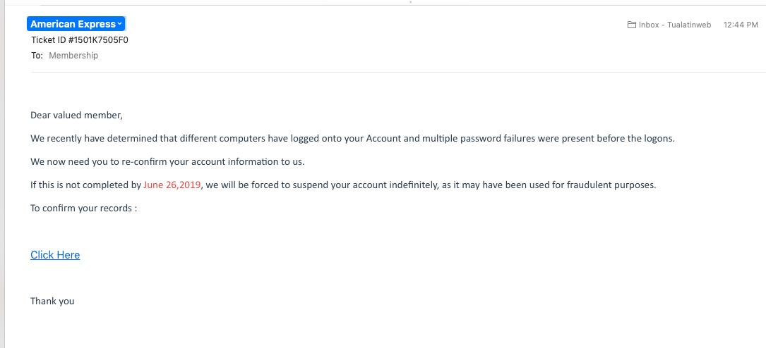 Email phishing scam – American Express