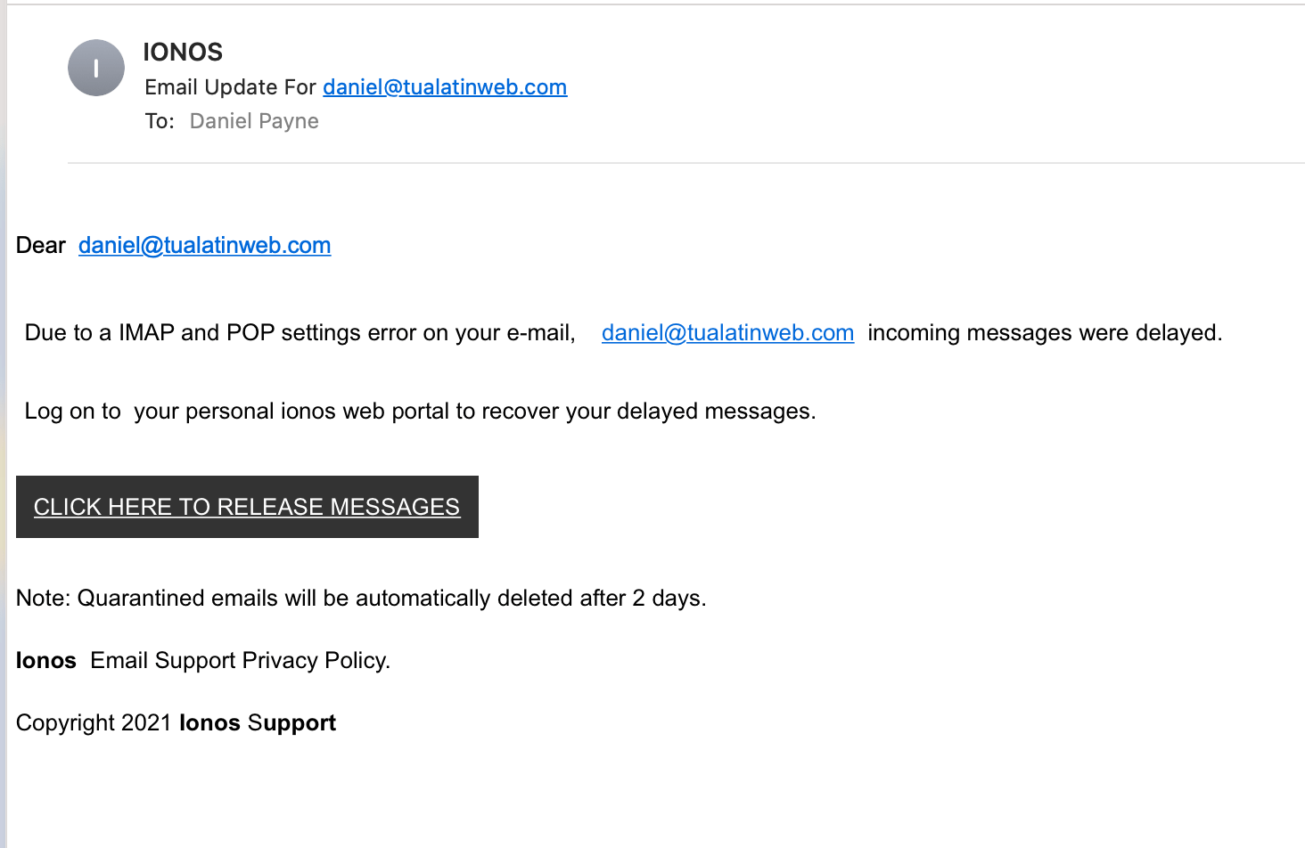 Email Phishing, That's Not IONOS