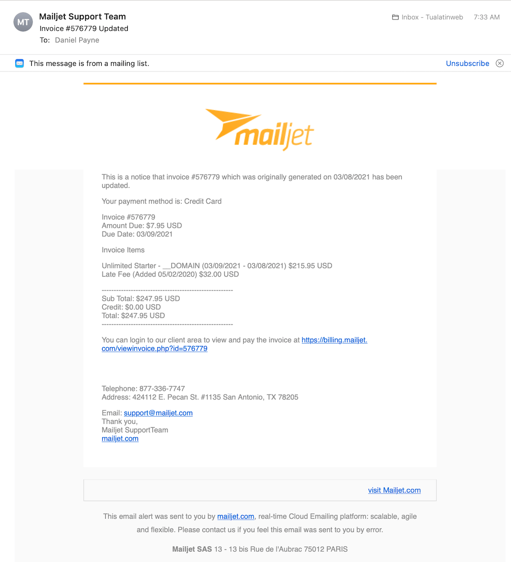 Phishing, not from the real Mailjet